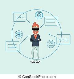 Man Virtual Reality Digital Glasses Sketch Background Dialog...