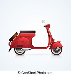 Electrical Scooter Retro Electric Transport Flat Vector...