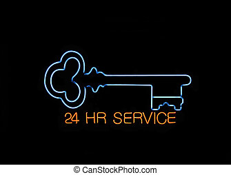 Neon Locksmith Sign - Neon 24 hours Locksmith Sign with a...