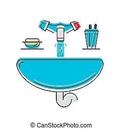 Bathroom sink with soap and toothbrushes, line style vector...