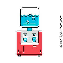 Water Cooler icon. Line style Vector Illustration