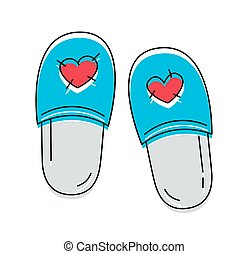 Cute slippers with hearts icon on the white background...