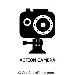 Action camera icon - black vector video cam symbol in...