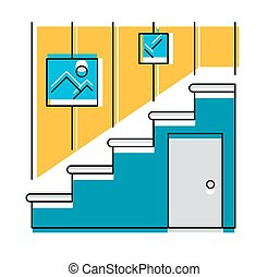 Interior hallway and stair, logo or icon, vector...