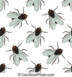 Seamless pattern with fly Musca domestica hand-drawn fly...