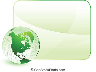 Green globe with blank background