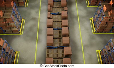 quot;Rows of shelves with boxes Commercial Warehousequot; -...