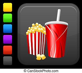 popcorn and soda icon on square internet button - Original...