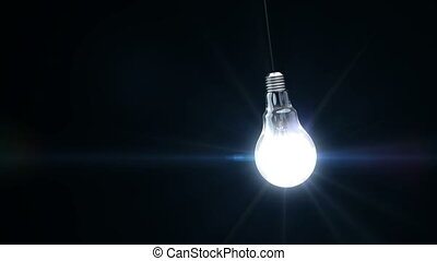 3d light bulb is flickering. Concept idea.