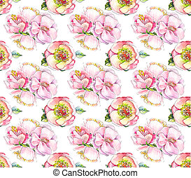 Watercolor pink flower pattern. Watercolor backgrond wath flower of roseship, peony, sacura. Suit for vintage wallpaper, paper, cloth, textile, background, etc.