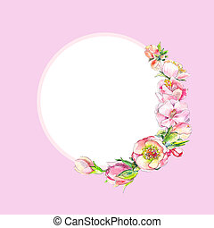 Round pink vintage frame with watercolor spring flowers Free...