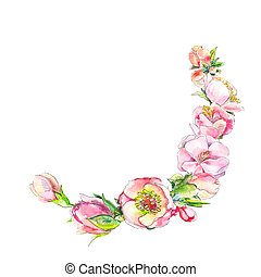 The semicircular frame of pink flowers in watercolor isolated on a white background. Watercolor painting of sakura flowers, peons, cherry watercolor. Spring vintage watercolor element for wedding design.