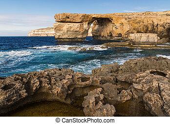 błękit, okno, Gozo, wyspa, malta,
