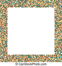 Pixel mosaic square frame in retro vintage muted colors -...