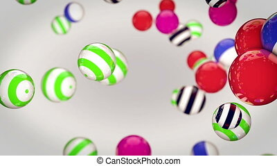 rotating multi-colored balls - Abstract rotating...