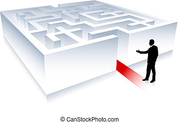 Business man on background with maze - Original Vector...