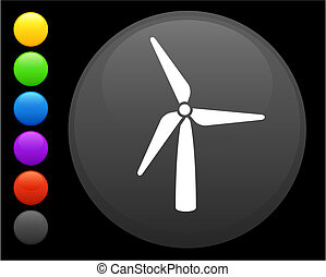 wind turbine icon on round internet button original vector...