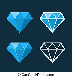 Diamond Icons Set. Flat Style Logo. Vector illustration