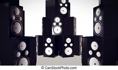 """Thumping Bass Speakers"" - ""3D render of Thumping Bass..."