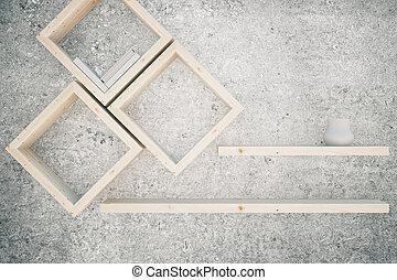 Creative shelves - Creative wooden shelves on concrete...