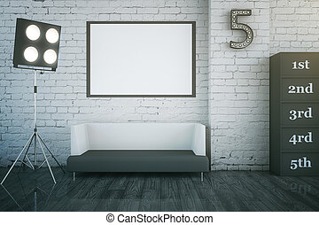 Star dressing room interior with blank picture frame, sofa...
