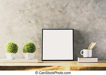 Table with white frame - Closeup of wooden table with blank...