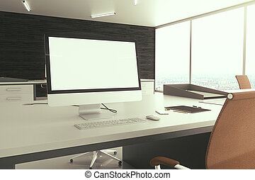 Blank white computer screen closeup - Closeup of office...
