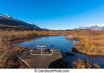 Picnic spot along Glenorchy Lagoon track Beautiful winter...