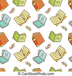 Seamless Book Pattern Sketchy Doodles Elements, Vector...