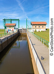 Water management Lemster lock in Friesland netherlands -...