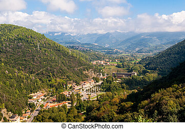 Aerial view of town village near Terni in Umbria, Italy....