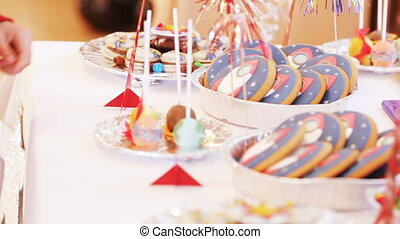 Candy bar birthday - Sweets in form of rockets and other...