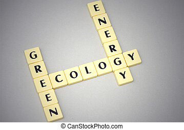 words green, ecology and energy on a gray background