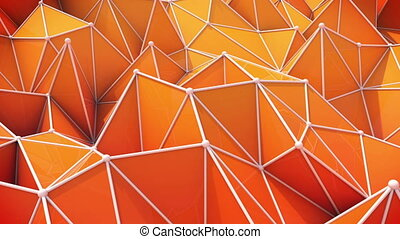 """orange triangles. computer generated seamless loop abstract geometrical motion background"""