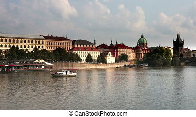 Prague - the old city, Vltava Embankment and Charles Bridge,...
