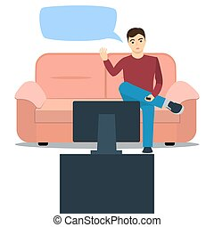 Vector illustration of a man on sof - %u0410 man sits on the...
