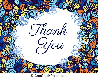 Thank you card with colourful flowe