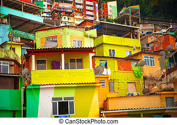 Favela - Colorful painted buildings of Favela in Rio de...