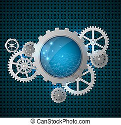 Abstract background with gears - Abstract metallic...