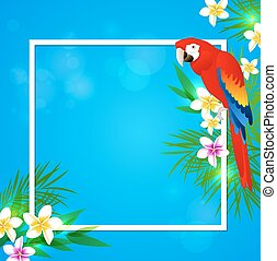 Tropical frame with parrot