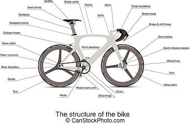 flat Infographic of the structure of a multi-speed bike