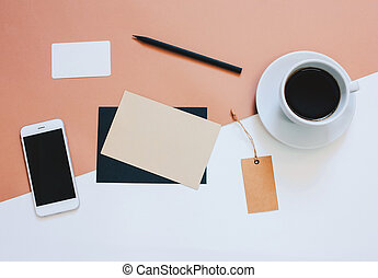 Creative flat lay photo of workspace desk with smartphone,...