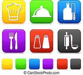 Food Icond on Square Internet Buttons Original vector...