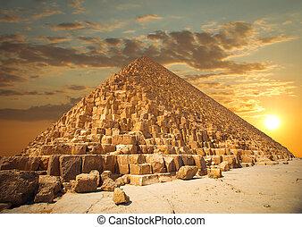 Pyramider, av, den, Faraoner, In, Giza,