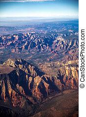 峡谷, 航空写真, 光景, 壮大