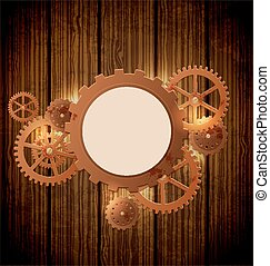 Vintage steampunk background - Abstract industrial...