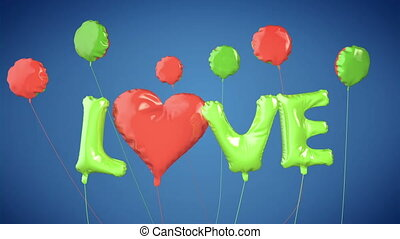 Balloons create LOVE word. Valentin - Balloons create LOVE...