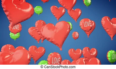 Heart shape balloons Valentines D - Animation of Heart shape...