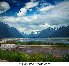 natural landscape at geirangerfjord Norway mountain