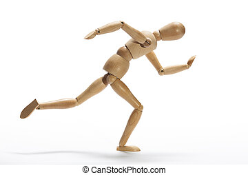 Sprint - Wooden mannequin in intense sprint on a white...